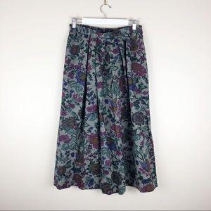 Vtg Lombardi Floral Herringbone Wool Skirt Flare